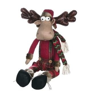 "Reindeer Ranch Dressed Sitting Moose Figurine - 11.5""l x 6""w x 24""h"