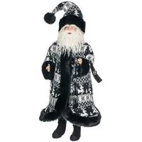 "Black & White Santa Figurine - 16""l x 12""w x 27""h"