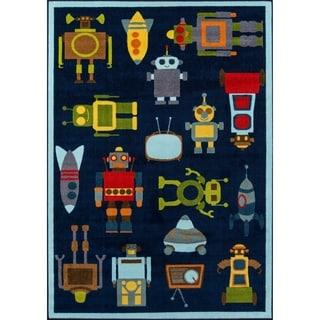 "Momeni Mini Mo Robot Blue Kids Area Rug - 4'11"" x 7'"