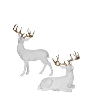 "Star Bright Gold & White Deer Tabletop Décor - Set of 2 - 14""l x 6""w x 13.25""h, 17""l x 6""w x 20.5""h"