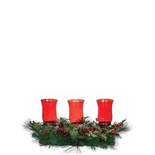"Classic Christmas Pine, Foliage, & Berry Centerpiece - 36""l x 16""w x 15""h"