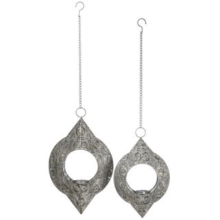 """Elegant Metal Patterned Hanging Candle Holders - Set of 2 - 10.5""""l x 3.25""""w x 17""""h, 12.5""""l x 4""""w x 20.5""""h"""