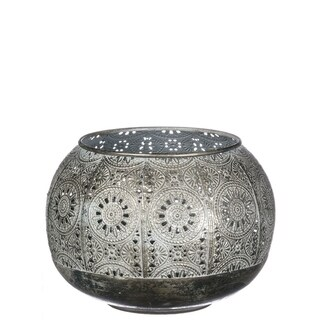 "Elegant Metal Patterned Orb Candle Holder - 6.5""l x 6.5""w x 5""h"