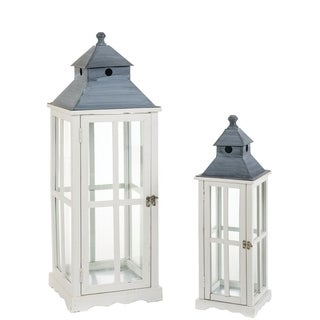 "Seaside White Lanterns - Set of 2 - 8""l x 8""w x 25""h, 12.25""l x 12.25""w x 3'h"