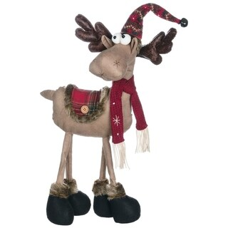 "Reindeer Ranch Standing Moose In Hat Figurine - 16""l x 6""w x 26""h"