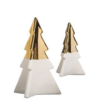 "Star Bright Gold & White Trees Tabletop Décor - Set of 2 - 3.5""l x 3""w x 5.5""h, 5.5""l x 5""w x 8""h"