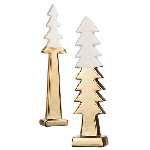 "Star Bright Gold & White Trees Tabletop Décor - Set of 2 - 2""l x 1.75""w x 10""h, 3""l x 2.5""w x 11""h"