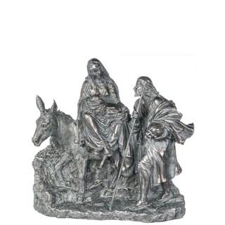 "Elegant Silver Holy Family Figurine - 15""l x 5""w x 13.5""h"