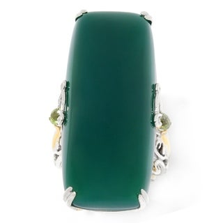 Michael Valitutti Palladium Silver Green Chalcedony & Peridot Elongated Ring