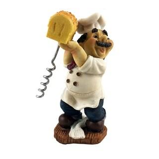 "Fat Italian Chef Baker Holding Bread w/Wine Bottle Cork Opener Funny Novelty Figurine 6"" White & Blue"