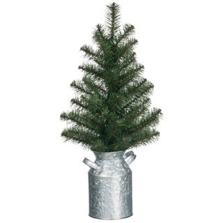 """Pine Tree with Milk Can Base - 10""""l x 10""""w x 21""""h"""
