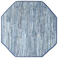 Striped Blue Jeans & Cotton (4'x4') Octagon Rug - 4' x 4'