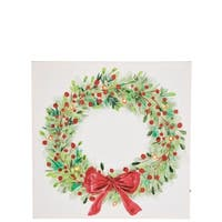 "Traditional Christmas Holly Wreath Wall Decor - 16""l x 1""w x 16""h"