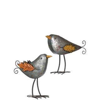 "Autumn Metal Birds Tabletop Décor - Set of 2 - 16""l x 5""w x 15.5""h, 20""l x 5""w x 15""h"