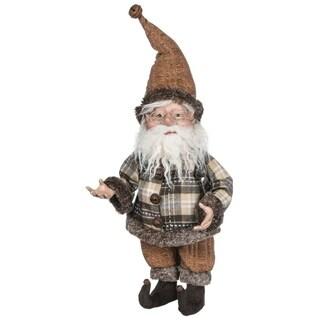 """Brown Plaid Elf Figurine - 10.5""""l x 7""""w x 23""""h"""