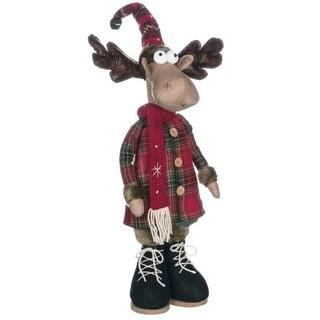 "Reindeer Ranch Dressed Standing Moose Figurine - 11""l x 4""w x 24""h"
