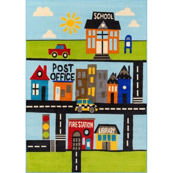 "Momeni Mini Mo Around Town Multicolor Kids Area Rug - Multi - 3'3"" x 4'11"""