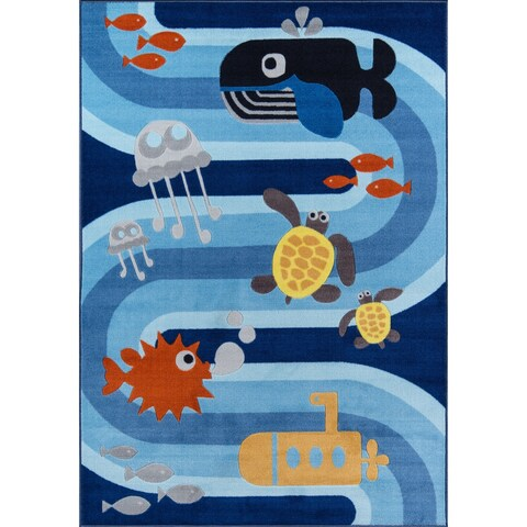 "Momeni Mini Mo Sea Life Blue Kids Area Rug - 3'3"" x 4'11"""
