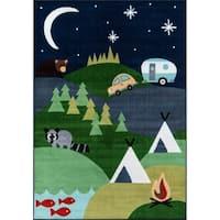 "Momeni Mini Mo Happy Camper Blue Kids Area Rug - 4'11"" x 7'"