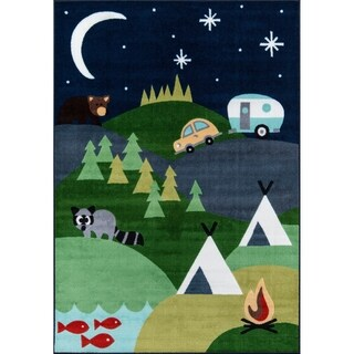 "Momeni Mini Mo Happy Camper Blue Kids Area Rug - 4'11"" x 7'"