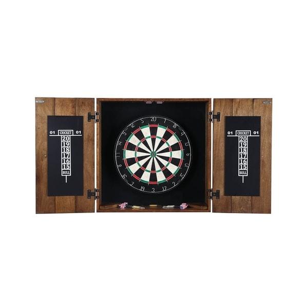 Gentil Drifter Solid Wood Dartboard Cabinet   Reclaimed Pine With Rustic Oak  Finish, Sisal Fiber For