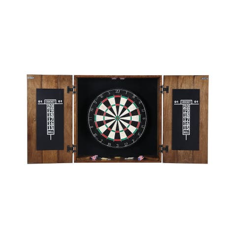 Drifter Solid Wood Dartboard Cabinet - Reclaimed Pine with Rustic Oak Finish, Sisal Fiber for Steel Tip Darts
