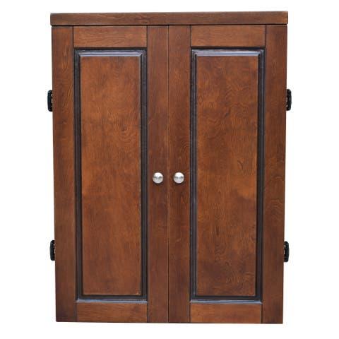 Brookline Electronic Dartboard Cabinet Set - Walnut Finish