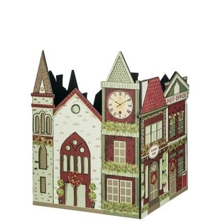 "Town Square Christmas Village Tree Stand - red, green, cream, tan - 21""l x21""w x26""h"