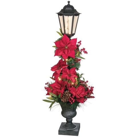"Pine, Poinsettia, Cone, & Berry Streetlight Tree - 20""l x 20""w x 45""h"