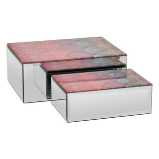 Three Hands Set Of Two Glass Mirrored Boxes - l 10x8x4 s 8x5.5x3