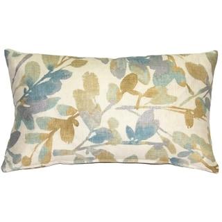 Pillow Decor - Linen Leaf Marine Throw Pillow 12x20