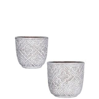 """Patterned Cement Flower Pots - Set of 2 - 6.25""""l x 6.25""""w x 6""""h, 7""""l x 7""""w x 6.75""""h"""