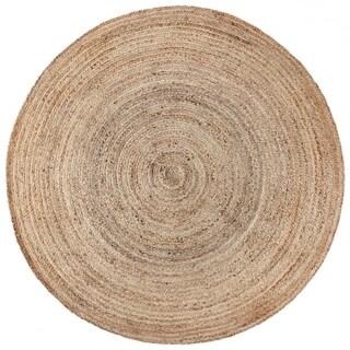 Pippi Natural Jute Handmade Braided Round Area Rug - 6' x 6'