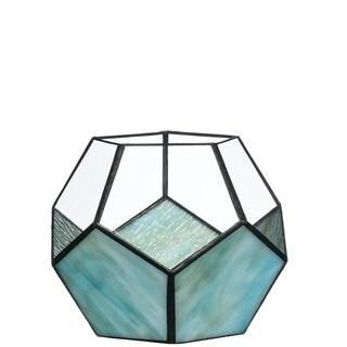 "Geomentric Blue Candleholder - 7""l x 7""w x 6""h"