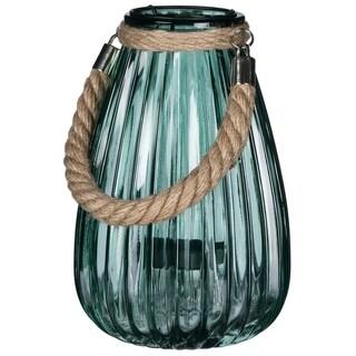 "Green Translucent Jute Handled Lantern - 5.5""l x 5.5""w x 9""h"