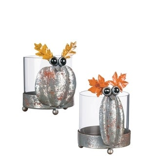 "Autumn Pumpkin Owl Candleholders - Set of 2 - 4""l x 5""w x 5.75""h"