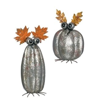 "Autumn Pumpkin Owl Tabletop Décor - Set of 2 - 8""l x 4""w x 12""h, 6""l x 4""w x 17""h"