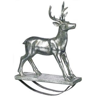 "Elegant Silver Deer Rocker Tabletop Decor - 7.5""l x 2""w x 10""h"