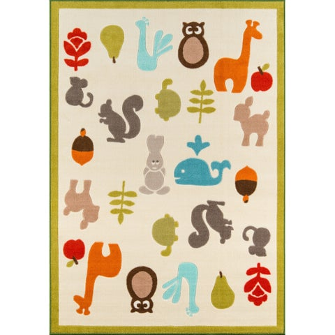"Momeni Mini Mo Baby Wild Things Ivory Kids Area Rug - 4'11"" x 7'"