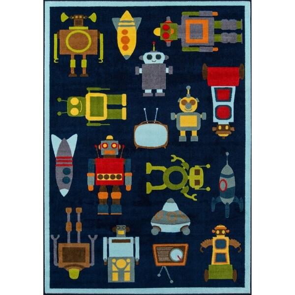 "Momeni Mini Mo Robots Blue Kids Area Rug - 3'3"" x 4'11"""