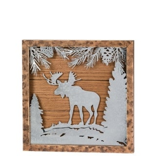 "Moose Cutout Metal & Wood Wall Decor - 15.75""l x 1.75""w x 15.75""h"