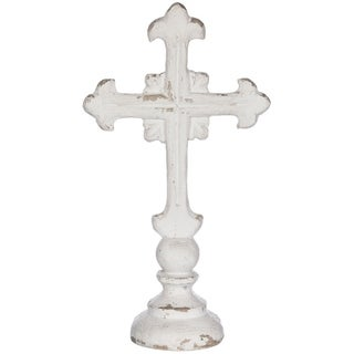 "Worn White Cross Tabletop Décor - 12""l x 12""w x 22""h"
