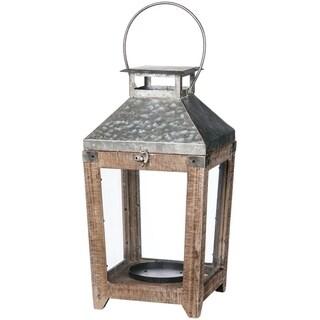 "Weathered Wood & Galvenized Metal Lantern - 9""l x 9""w x 17.5""h"