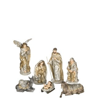 "Silver & Gold Nativity Tabletop Décor - Set of 7 - 4""l x 3.5""w x 3""h, 5.5""l x 6""w x 12""h"