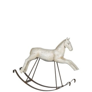 "Nostalgia White Rocking Horse Figurine - 24""l x 6""w x 19""h"