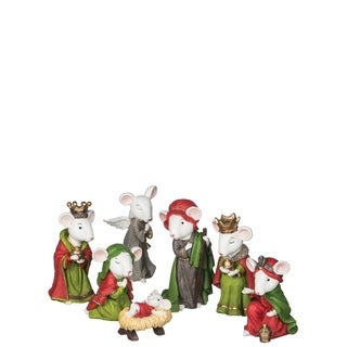 "Christmas Mouse Nativity - Set of 7 - 2.5""l x 3""w x 5""h, 2""l x 2.5""w x 3.5""h"
