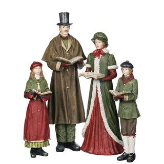 "Town Square Christmas Carolers Tabletop Décor - Set of 4 - 3""l x 3.5""w x 10.5""h, 4.5""l x 5""w x 15.5""h"