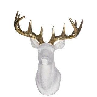 "Star Bright Gold & White Reindeer Bust Decor - 14""l x 8.75""w x 19.75""h"