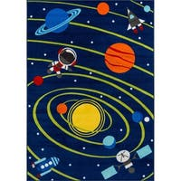 """Momeni Mini Mo Out of This World Navy Kids Area Rug - 4'11"""" x 7'"""