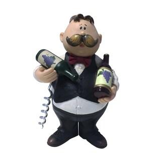 """Chubby Waiter Wine Bottle Cork Opener, Funny Handmade Novelty Figurine, Black & White 7"""" Tall"""